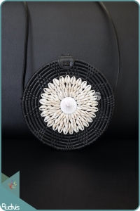 Black Plain Rattan Bag With Sea Shell Decoration