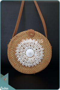 Brown Natural Rattan Bag With Sea Shell Decoration