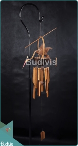 Garden Decoration Bamboo Wind Chimes With Heron Accessories