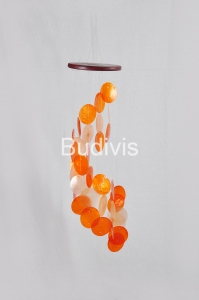 Orange Gradient Spiral Capiz Wind Chimes
