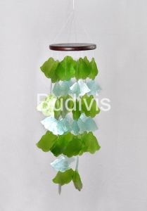 Green and White Brugmansia Capiz Wind Chimes