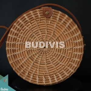 Best Selling Natural Stripe Round Rattan Bag