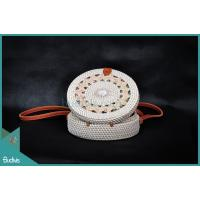 Bali Round Bag White Black Sythetic Rattan With Tribal Woven